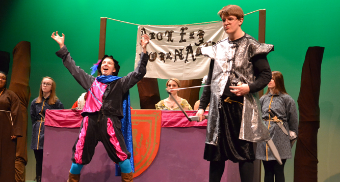 "photo of theater students performing the play ""Robin Hood."""