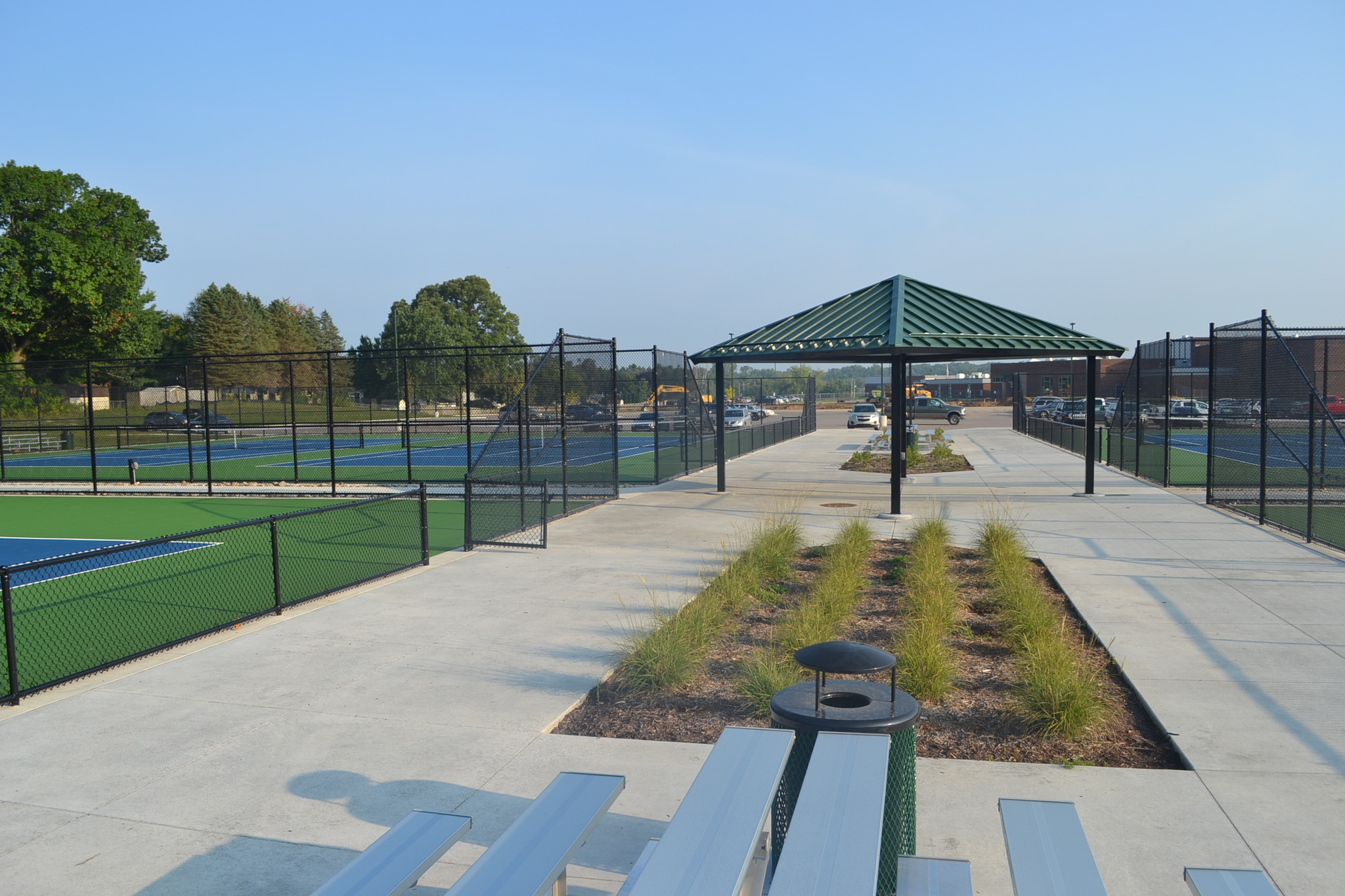 new sun shelter at tennis courts