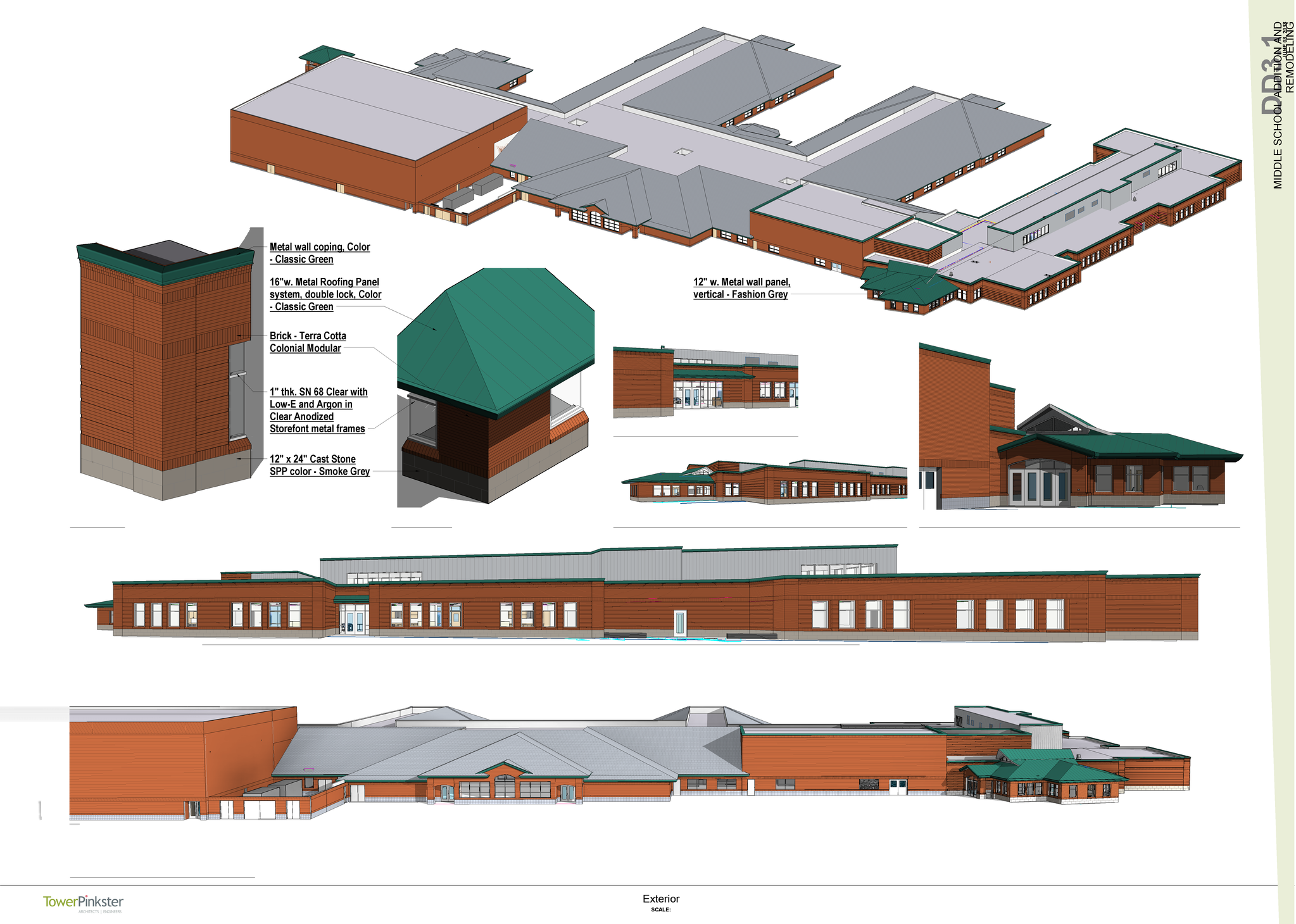 exterior conceptual drawings of middle school wing