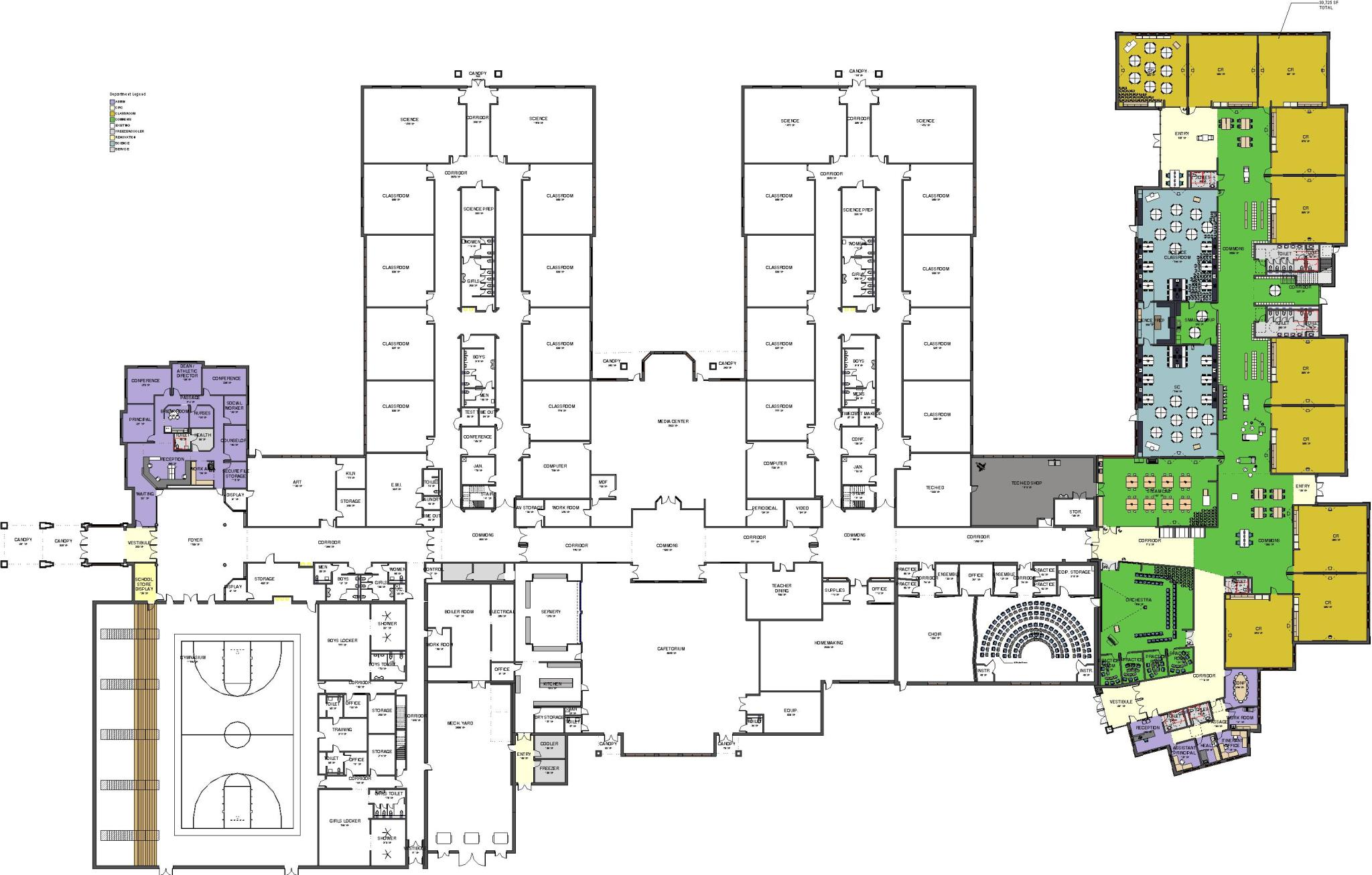drawing of middle school building layout