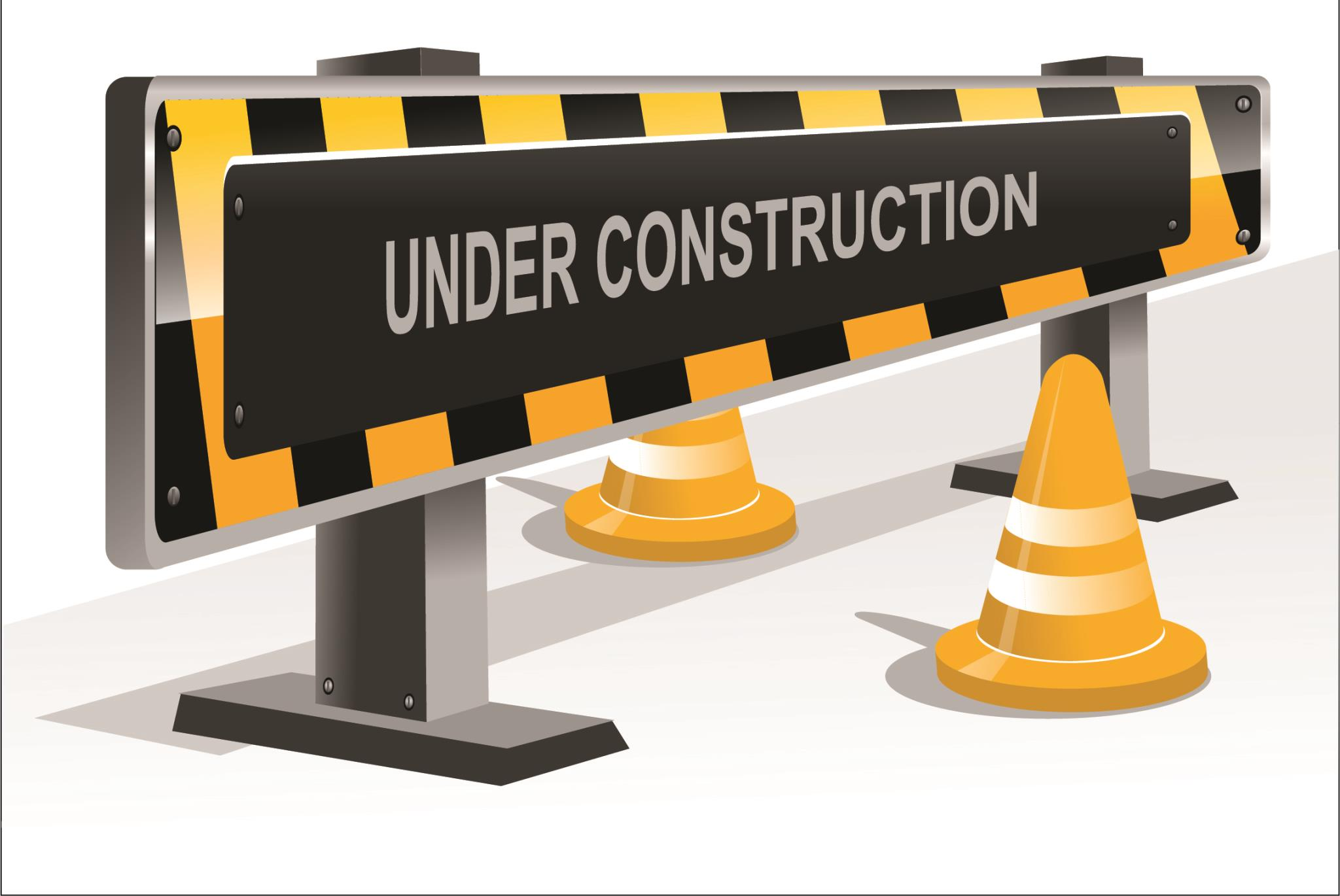 Construction sign with cones