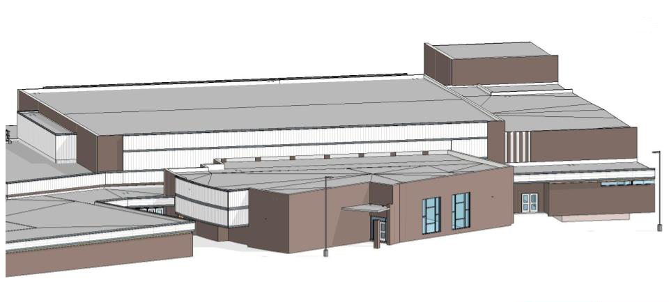 drawing of high school exterior with new aluminum panels