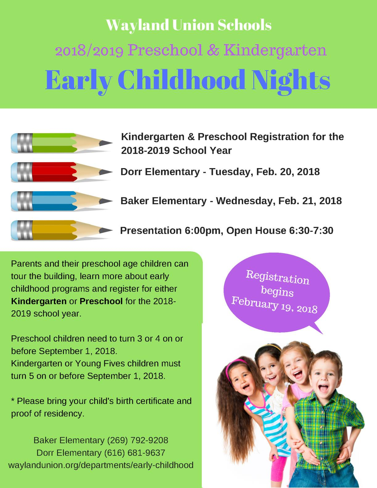 flyer for early childhood nights