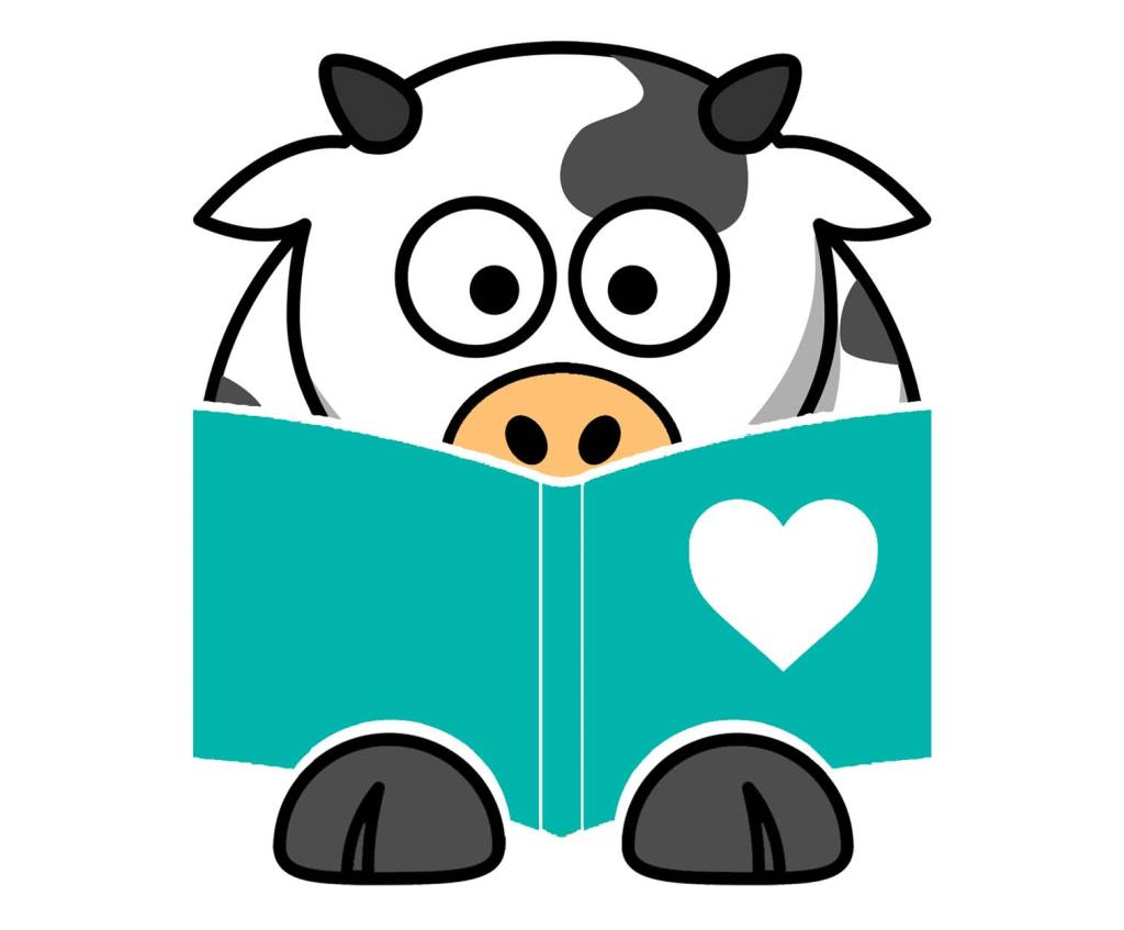 cow reading a book